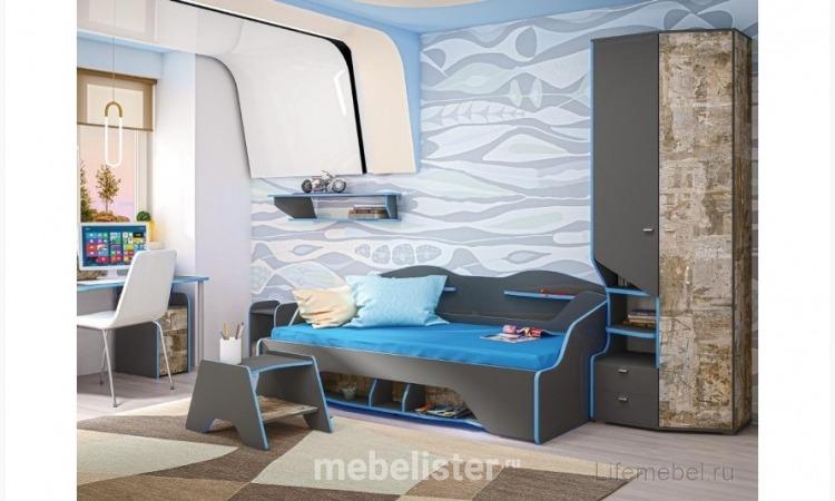 Кровать подростковая Индиго 11.03 90 х 200 см с ортопедом темно-серый / граффити от Кураж. Софа